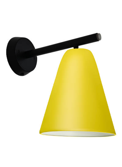 Sort væglampe gul