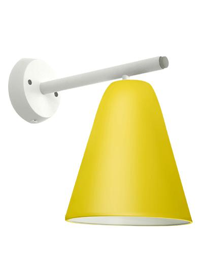 Hvid væglampe gul