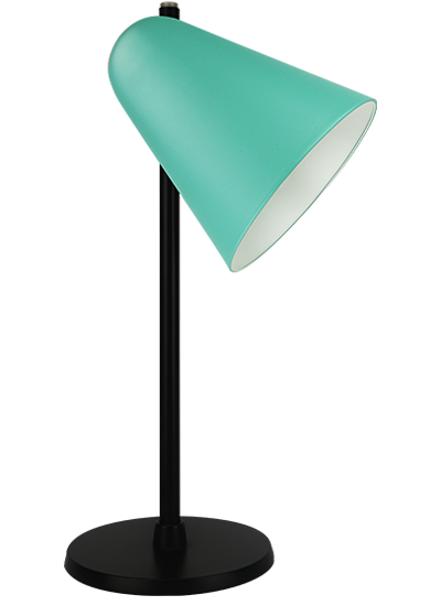 Black table lamp green