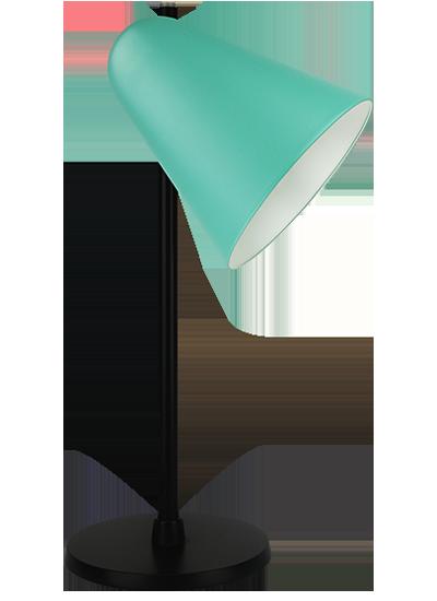 Black table lamp green