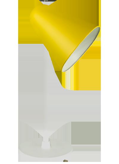 Hvid bordlampe zink gul
