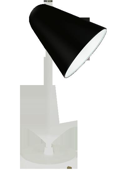 Hvid bordlampe sort